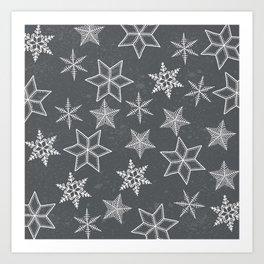 Snowflakes on grey background Art Print