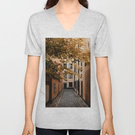 Autumn in Stockholm, Sweden | Gamla Stan | old city centre | alley | old buildings | colored houses | bright colors | city print | travel photography | travel print | art print Unisex V-Neck