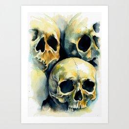 Orangelight skulls Art Print