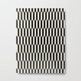 BW Oddities I - Black and White Mid Century Modern Geometric Abstract Metal Print