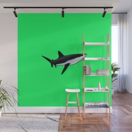 Great White Shark  on Acid Green Fluorescent Background Wall Mural