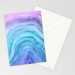 Agate II - Blue Ombre Watercolor Stationery Cards