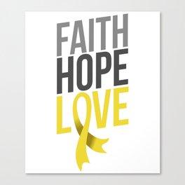 Faith Hope Love Gold Ribbon Cancer Awareness Canvas Print