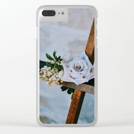 Rose on the Cross (Color) Clear iPhone Case