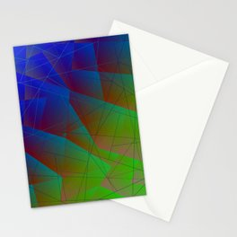 Bright fragments of crystals on irregularly shaped blue and green triangles. Stationery Cards
