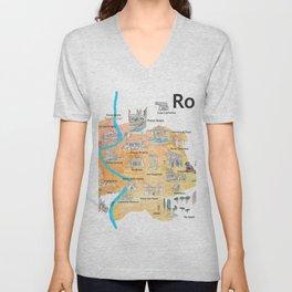 Rome Italy Illustrated Travel Poster Favorite Map Tourist Highlights Unisex V-Neck