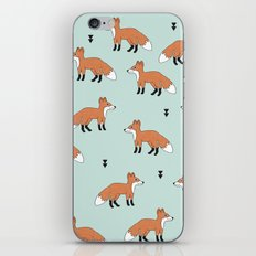 Cute fall woodland smiling foxes illustration pattern iPhone & iPod Skin