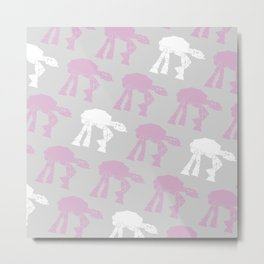 AT-AT's in Ash Lavender and White Metal Print