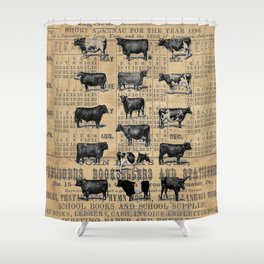 Vintage 1896 Cows Study on Antique Lancaster County Almanac Shower Curtain