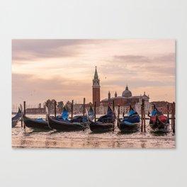 Venice Gondolas at Sunset, Italy Travel Photography, Venice Wall Art, Venecia Foto Canvas Print
