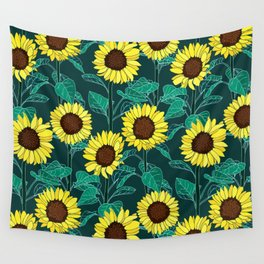 Sunny Sunflowers - Emerald Wall Tapestry