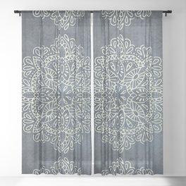Mandala Vintage Ivory Blue Sheer Curtain