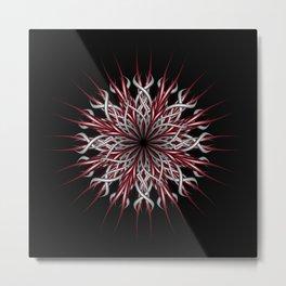 Mandala silver and red Metal Print