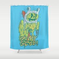 finn Shower Curtains featuring Zombie Finn by zinodaur