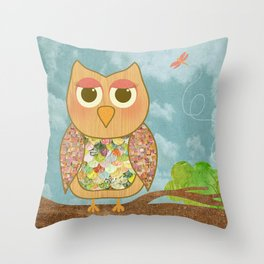 Woodland Owl in a Tree Throw Pillow