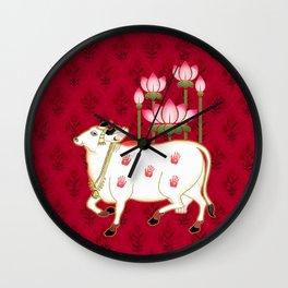 HOLY COW - Indian Pichwai Art Crimson Pink  Wall Clock