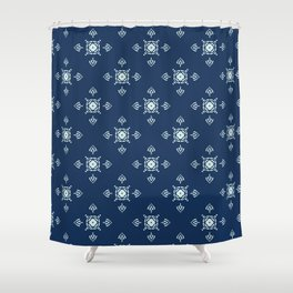 Traditional Indigo Blue Japanese Quilting Fabric Style Shower Curtain