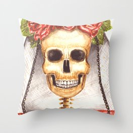 Watercolor Catrina Throw Pillow