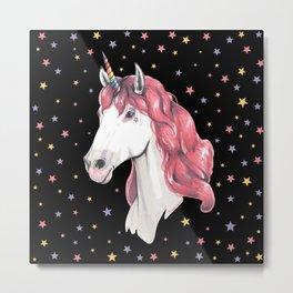 Pink hair unicorn Metal Print