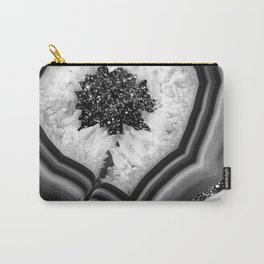 Gray Black White Agate with Black Silver Glitter #1 #gem #decor #art #society6 Carry-All Pouch