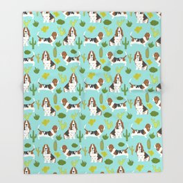 Basset Hound cactus cute mint pet portrait dog art must have gifts for basset hound owners fur baby Throw Blanket