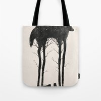 creepy Tote Bags featuring Standing Tall by Dan Burgess