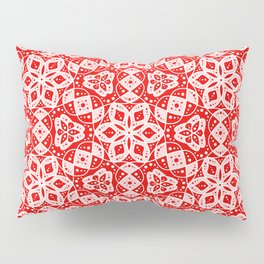 Red Pink and White Mini Mandala Abstract Flowing Floral Dotted Spirit Organic Pillow Sham