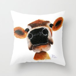 Nosey Cow ' JERSEY JOY ' by Shirley MacArthur Throw Pillow