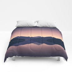 Mountain sunset reflection Comforters