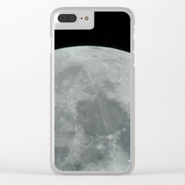 Zoomed in Moon Clear iPhone Case