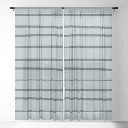 Night Watch PPG1145-7 Hand Drawn Horizontal Stripes on Blue Willow Green PPG1145-4 Sheer Curtain