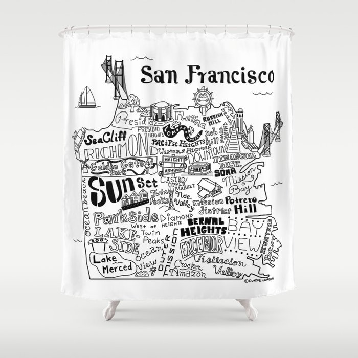 San Francisco Map Illustration Shower Curtain By Clairelordon Society6