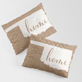Oklahoma is Home - White on Burlap Pillow Sham