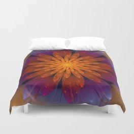 Fiery Fantasy Flower, fractal abstract Duvet Cover