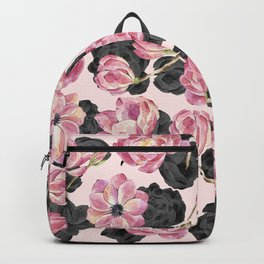 Girly Blush Pink and Black Watercolor Flowers Backpack