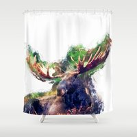moose Shower Curtains featuring Moose by jbjart