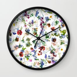Colorful flowers abstract pattern, flower design Wall Clock