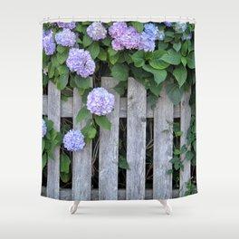 Hydrangea Fence in Cape Cod Shower Curtain