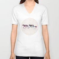 wolves V-neck T-shirts featuring Wolves by Watercolorist