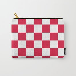 Checkered - White and Crimson Red Carry-All Pouch