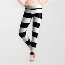 Midnight Black and White Stripes Leggings
