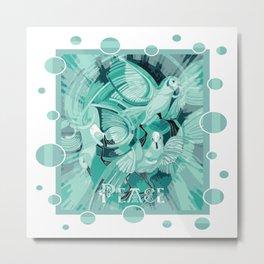 Dove With Celtic Peace Text In Aqua Tones Metal Print