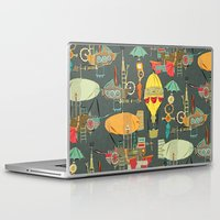 aviation Laptop & iPad Skins featuring steampunk sky dark by Sharon Turner