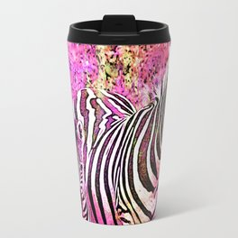 Crazy Zebras Artsy Mixed Media Art Travel Mug
