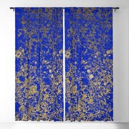 Royal Blue and Gold Patina Design Blackout Curtain