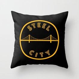 Pittsburgh Steel City Bridge Vintage Print Throw Pillow