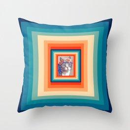 Retro Cat 80s Throw Pillow