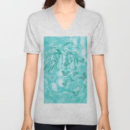 Abstract butterflies in teal landscape Unisex V-Neck
