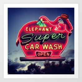 Elephant Car Wash Art Print