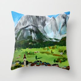 Austria Tyrol Mountains acrylic painting Throw Pillow